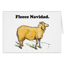 Fleece Navidad Golden Christmas Sheep Cartoon Card