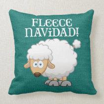 """Fleece Navidad"" Sheep on Green Burlap Christmas Throw Pillow"