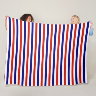 Fleece Red White and Blue Striped Throw Blanket