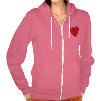 Fleece Zip Hoodie-Groovy Heart Hooded Sweatshirt