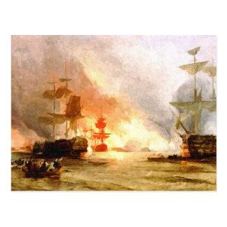 Fleet of sailing ships (abstracted) post card