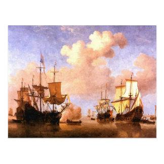 Fleet of sailing ships postcard