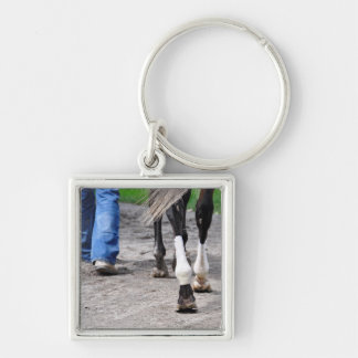 Fleetphoto Silver-Colored Square Keychain