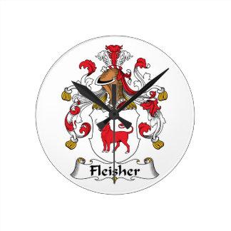 Fleisher Family Crest Round Wall Clocks