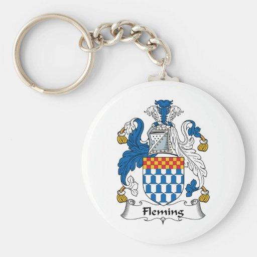 Fleming Family Crest Basic Round Button Keychain