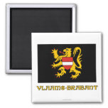 Flemish Brabant Flag with Name 2 Inch Square Magnet