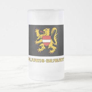 Flemish Brabant Flag with Name Frosted Glass Beer Mug
