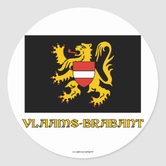 Flemish Brabant Flag with Name Round Stickers