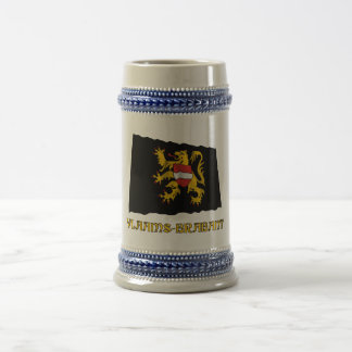 Flemish Brabant Waving Flag with Name Beer Stein