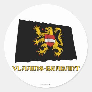 Flemish Brabant Waving Flag with Name Classic Round Sticker