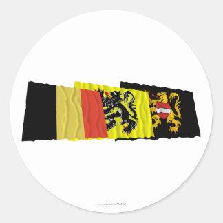 Flemish Brabant Waving Flags Trio Round Stickers