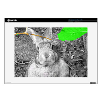 "Flemish Giant Rabbit B & W with Green Leaves 15"" Laptop Decal"