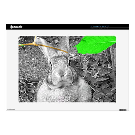"""Flemish Giant Rabbit B & W with Green Leaves 15"""" Laptop Decal"""