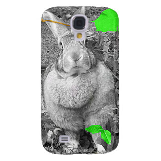 Flemish Giant Rabbit B & W with Green Leaves Galaxy S4 Cover