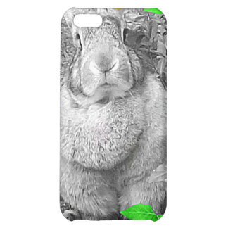 Flemish Giant Rabbit B & W with Green Leaves iPhone 5C Cases