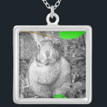 """Flemish Giant Rabbit B &amp; W with Green Leaves Silver Plated Necklace<br><div class=""""desc"""">Beautiful black and white photograph of a light gray, female Flemish Giant rabbit. This is my own bunny, Atira. She is rendered in black and white with a splash of green leaves and a brown branch to set off the picture with a stunning result. Great gift or anyone who loves...</div>"""