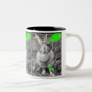 Flemish Giant Rabbit B & W with Green Leaves Two-Tone Coffee Mug