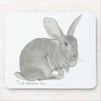 Flemish Giant Rabbit Sketch Mouse Pad
