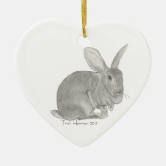 Flemish Giant Rabbit Sketch Christmas Tree Ornament