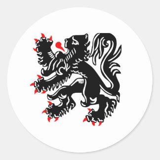 Flemish Lion. Classic Round Sticker