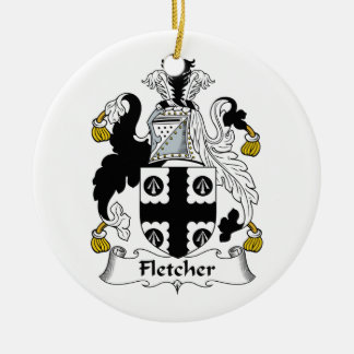 Fletcher Family Crest Double-Sided Ceramic Round Christmas Ornament