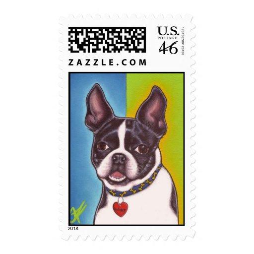 Fletcher the Boston Terrier-stamp