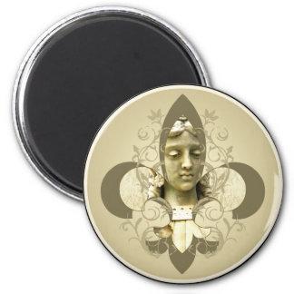 Fleur Angel Statue 2 Inch Round Magnet