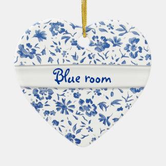 fleur bleue ceramic ornament