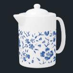 """fleur bleue teapot<br><div class=""""desc"""">""""Fleur bleue"""" means sentimental; romantic in French.</div>"""