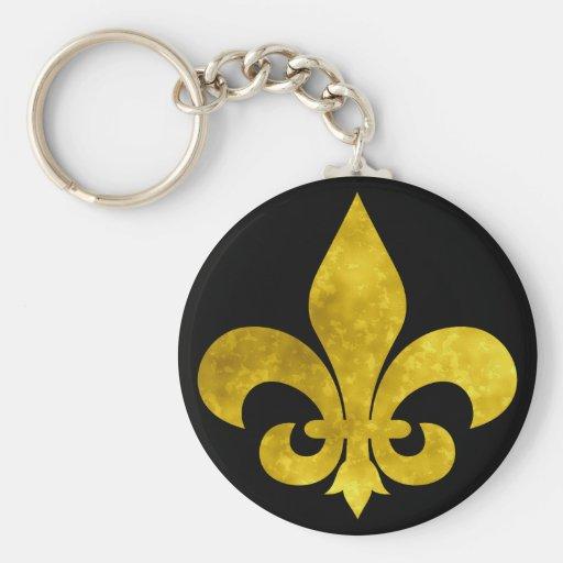 Fleur De Art Gold Rust Basic Round Button Keychain