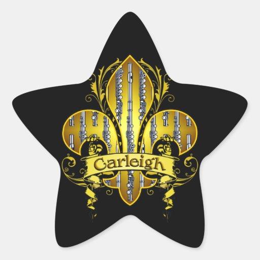 Fleur de flute Stickers y tarjetas Pegatina En Forma De Estrella