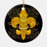 Fleur de Guardian Double-Sided Ceramic Round Christmas Ornament