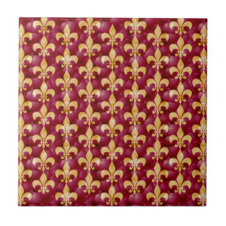 fleur-de-les Bubbles Small Square Tile