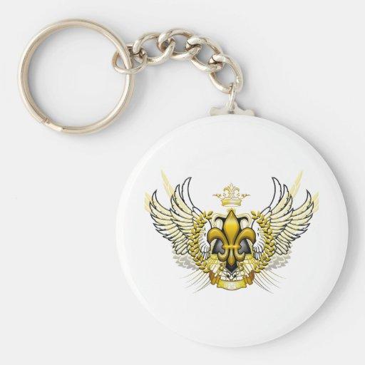 Fleur De Li (Gold) Basic Round Button Keychain