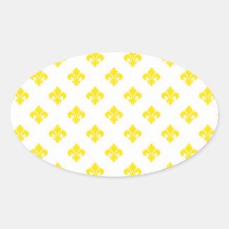 Fleur De Lis 1 Yellow Oval Sticker