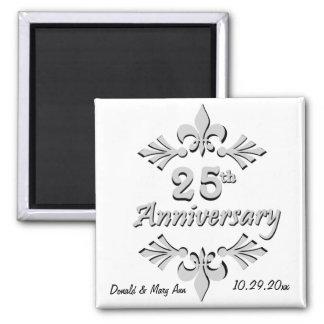 Fleur De Lis 25th Anniversary Party Favors 2 Inch Square Magnet