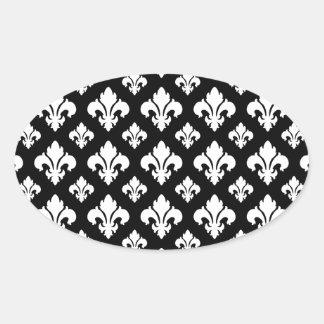 Fleur De Lis 2 Black and White Oval Sticker