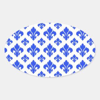 Fleur De Lis 2 Blue Oval Sticker