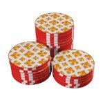 Fleur De Lis 2 Orange Poker Chips
