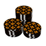 Fleur De Lis 2 Orange Set Of Poker Chips