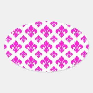 Fleur De Lis 2 Pink Oval Sticker