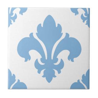 Fleur De Lis 2 Placid Blue Tiles