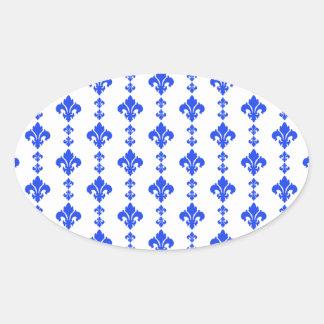 Fleur De Lis 3 Blue Oval Sticker