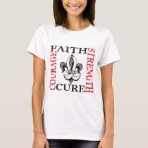 Fleur De Lis 3 Bone Cancer T-Shirt
