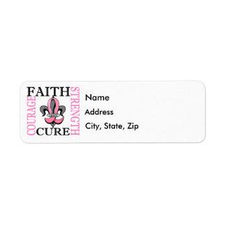 Fleur De Lis 3 Breast Cancer Label