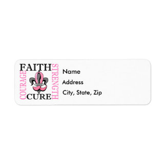 Fleur De Lis 3 Breast Cancer Label