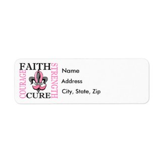 Fleur De Lis 3 Breast Cancer Return Address Labels