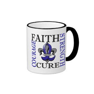 Fleur De Lis 3 Colon Cancer Ringer Coffee Mug