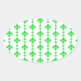 Fleur De Lis 3 Green Oval Sticker