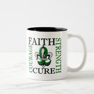 Fleur De Lis 3 Liver Disease Two-Tone Coffee Mug